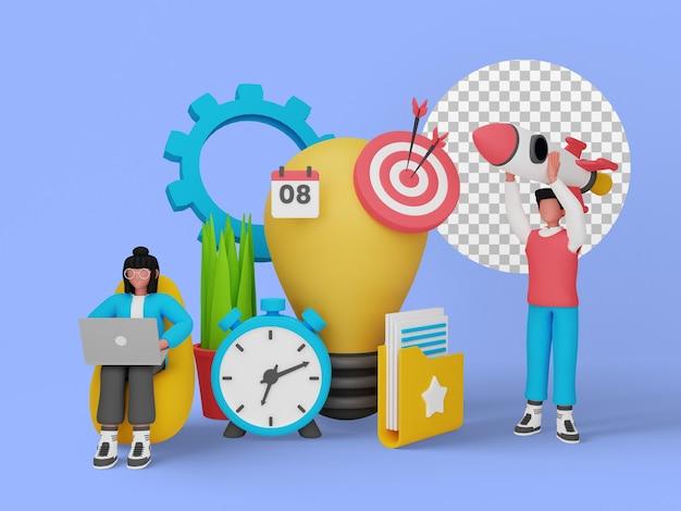 3d-darstellung des konzepts der startup-idee für die landing page