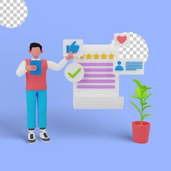 3d-darstellung des kundenfeedback-managements für ihre website-landingpage
