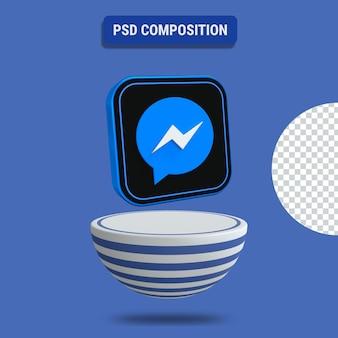 3d-darstellung des messenger-symbols mit blau gestreiftem podium