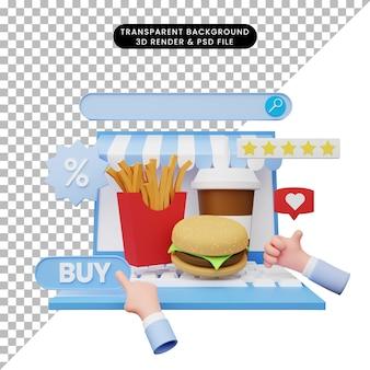 3d-darstellung des online-shops auf dem laptop