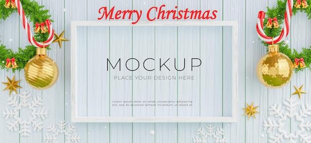 3d-darstellung des rahmens mit frohe weihnachten und guten rutsch ins neue jahr-konzept auf holzbrett