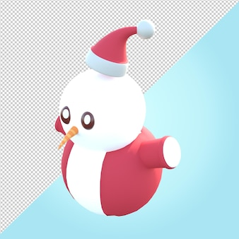 3d-darstellung des schneemanns mit rotem pullover und weihnachtsmütze