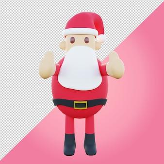 3d-darstellung des süßen weihnachtsmanns mit daumen hoch