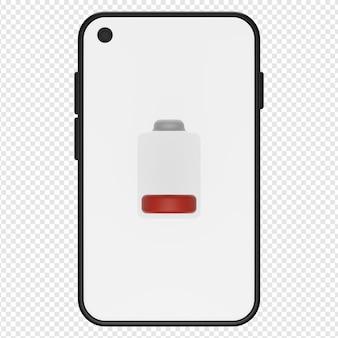 3d-darstellung des symbols für schwache telefonbatterie psd