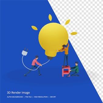 3d-darstellung des teamwork-geschäfts-brainstorming-ideenkonzepts mit großer gelber glühbirne, kleinem menschencharakter