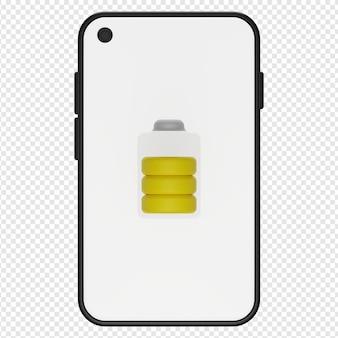 3d-darstellung des telefonbatteriesymbols psd