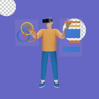 3d-darstellung des virtual-reality-headset-konzepts