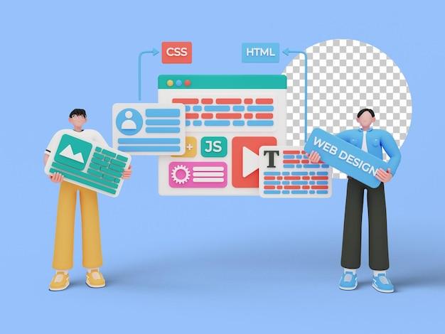 3d-darstellung des webdesign-konzepts