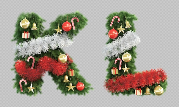 3d-darstellung des weihnachtsbaumbuchstabens k und des buchstabens l.