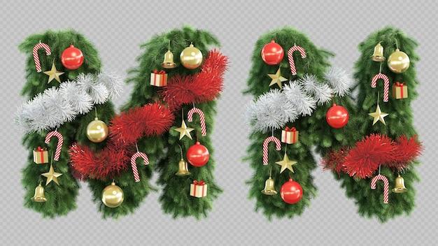 3d-darstellung des weihnachtsbaumbuchstabens m und des buchstabens n.