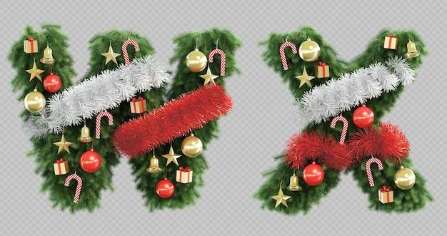 3d-darstellung des weihnachtsbaumbuchstabens w und des buchstabens x.
