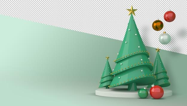 3d-darstellung des weihnachtsbaums und der geschenkbox