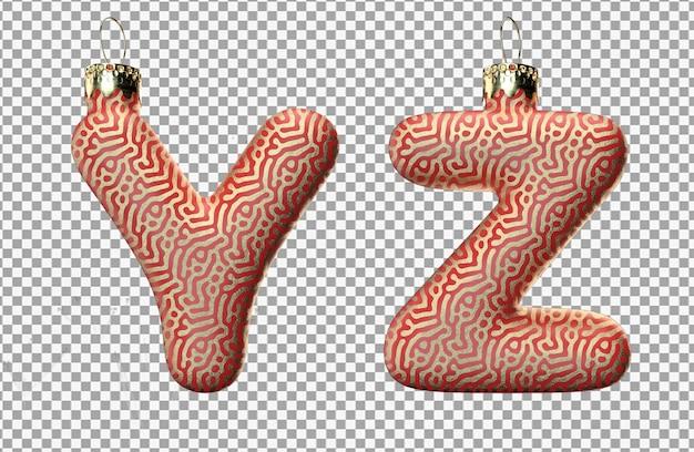 3d-darstellung des weihnachtsspielzeugbuchstabens y und des buchstabens z