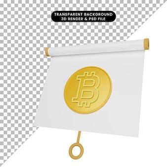 3d-darstellung einer einfachen objektpräsentationstafel, die mit bitcoin leicht geneigt ist