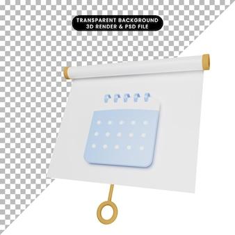 3d-darstellung einer einfachen objektpräsentationstafel, die mit kalender leicht geneigt ist