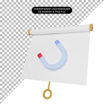 3d-darstellung einer einfachen objektpräsentationstafel, die mit magnet leicht geneigt ist