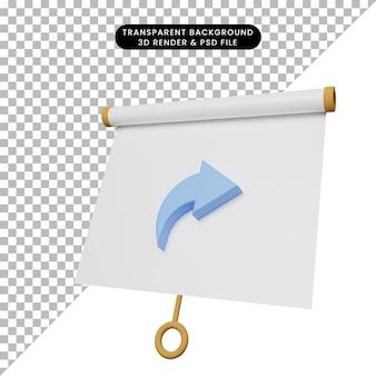 3d-darstellung einer einfachen objektpräsentationstafel, leicht geneigte ansicht mit freigabesymbol