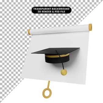 3d-darstellung einer einfachen objektpräsentationstafel leicht geneigter ansicht mit toga-hut