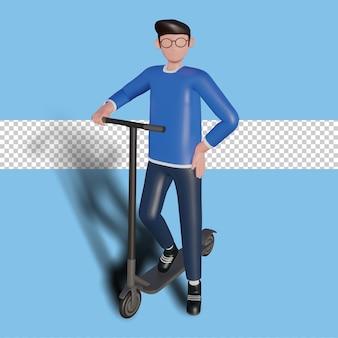 3d-darstellung eines charakters, der einen roller fährt