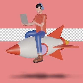 3d-darstellung eines freiberuflers mit computer, der auf einer rakete sitzt