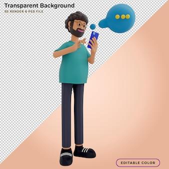 3d-darstellung eines mannes, der auf dem smartphone und der sprechblase chattet