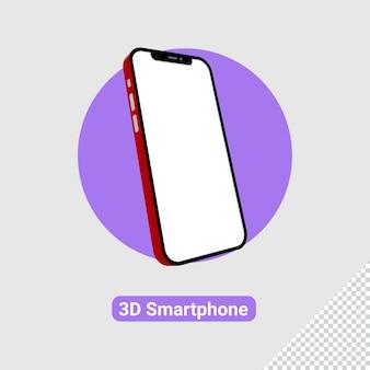 3d-darstellung eines roten smartphones mit weißem bildschirm