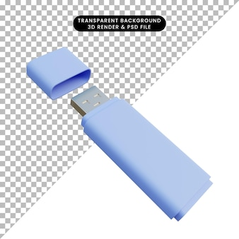 3d-darstellung einfache objekt-flash-disk