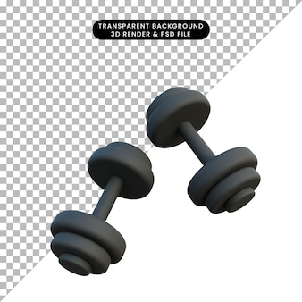 3d-darstellung einfaches objekt sport hantel