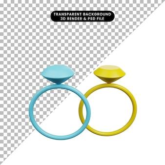 3d-darstellung einfaches symbol schönheit objekt ring diamant