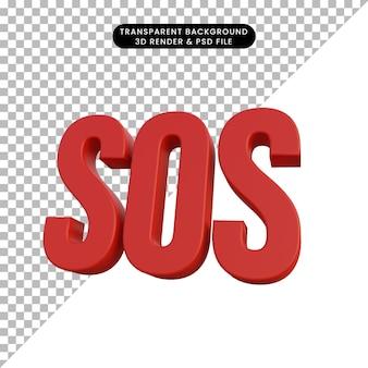 3d-darstellung einfaches symbol sos-notfall