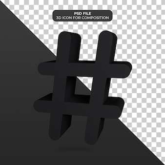 3d-darstellung hashtag-symbol-rendering