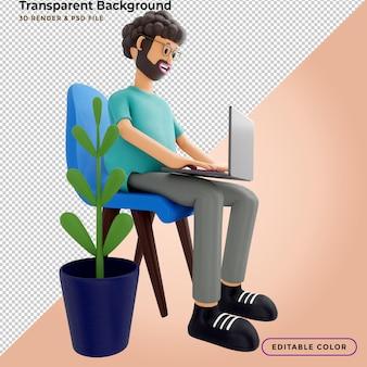 3d-darstellung. mann sitzt, ruht sich in einem stuhl aus und sieht sich ein video auf einem laptop an