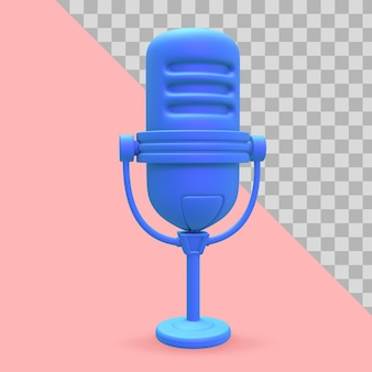 3d-darstellung mikrofon für podcast-clipping-pfad