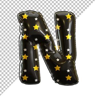 3d-darstellung von alphabet buchstaben n geburtstagsballons