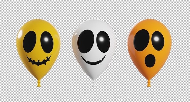 3d-darstellung von beängstigendem gesicht der ballons mit transparentem hintergrund des halloween-konzepts, beschneidungspfad