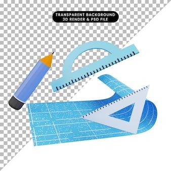 3d-darstellung von blaupausenpapier mit bleistift und lineal