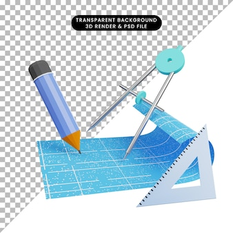 3d-darstellung von blaupausenpapier mit orleon-skala-bleistift und lineal
