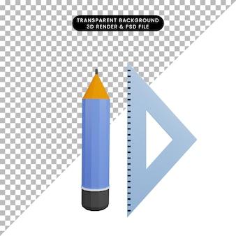 3d-darstellung von bleistift mit lineal