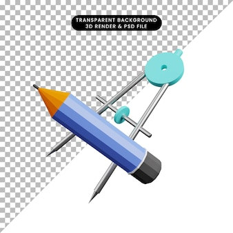 3d-darstellung von bleistift mit orleon-skala