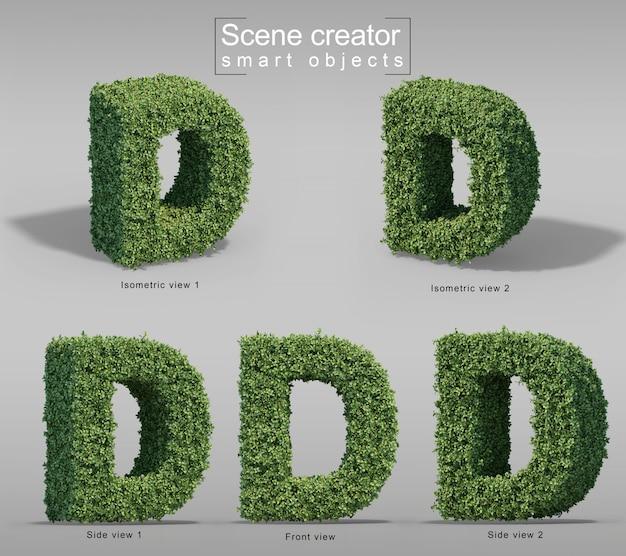 3d-darstellung von büschen in form des buchstabens d.