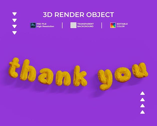 3d-darstellung von danke ballon-stil text isoliert