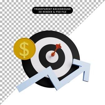 3d-darstellung von dart auf ziel mit münze und grafik