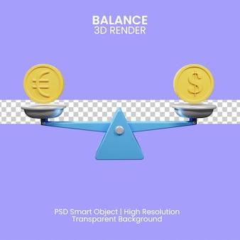 3d-darstellung von dollar- und euro-währungsbilanz