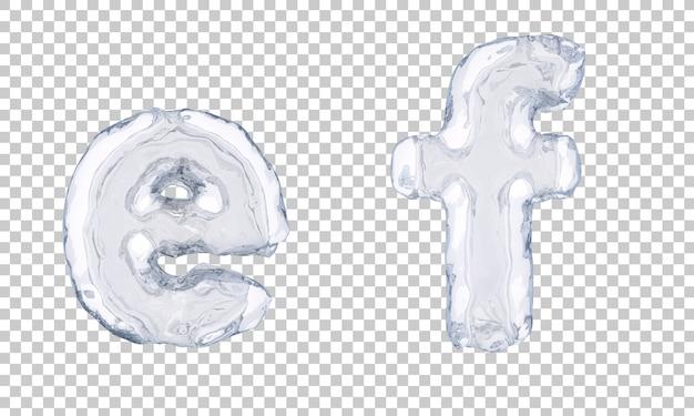 3d-darstellung von eisalphabet e und alphabet f