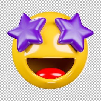 3d-darstellung von emoji oder emoticon mit transparentem hintergrund, beschneidungspfad.