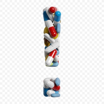 3d-darstellung von farbpillen und tabletten alphabet ausrufezeichen symbol isoliert