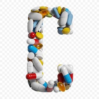 3d-darstellung von farbpillen und tabletten alphabet buchstaben c symbol isoliert