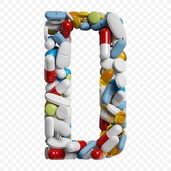 3d-darstellung von farbpillen und tabletten alphabet buchstaben d symbol isoliert auf weißem hintergrund