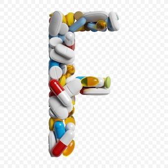 3d-darstellung von farbpillen und tabletten alphabet buchstaben f symbol isoliert auf weißem hintergrund
