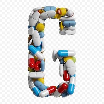 3d-darstellung von farbpillen und tabletten alphabet buchstaben g symbol isoliert